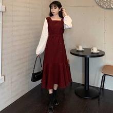 Цельнокроеное женское платье с имитацией двух частей корейское