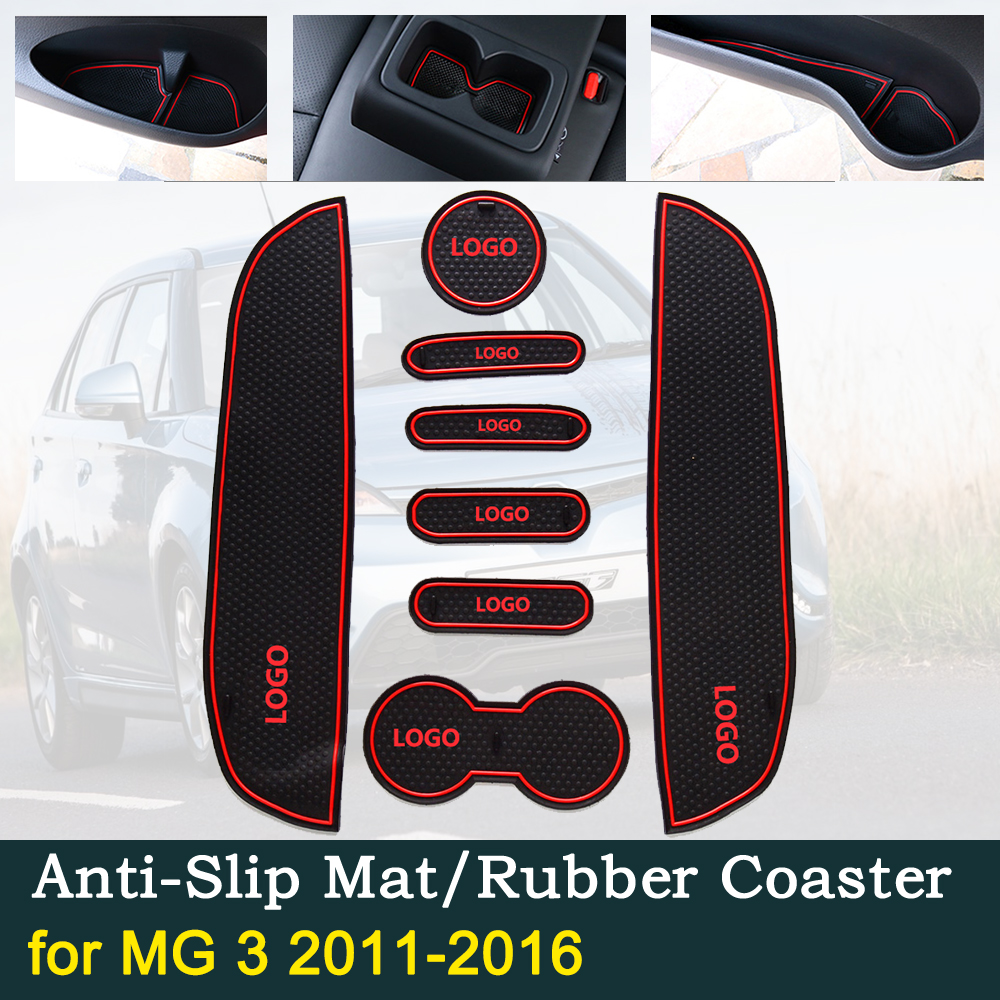 Anti~slip Door Rubber Cup Cushion For MG 3 2011~2016 MG3 2012 2013 2014 2015 Best Sale Red Car Groove Mats Interior Accessories