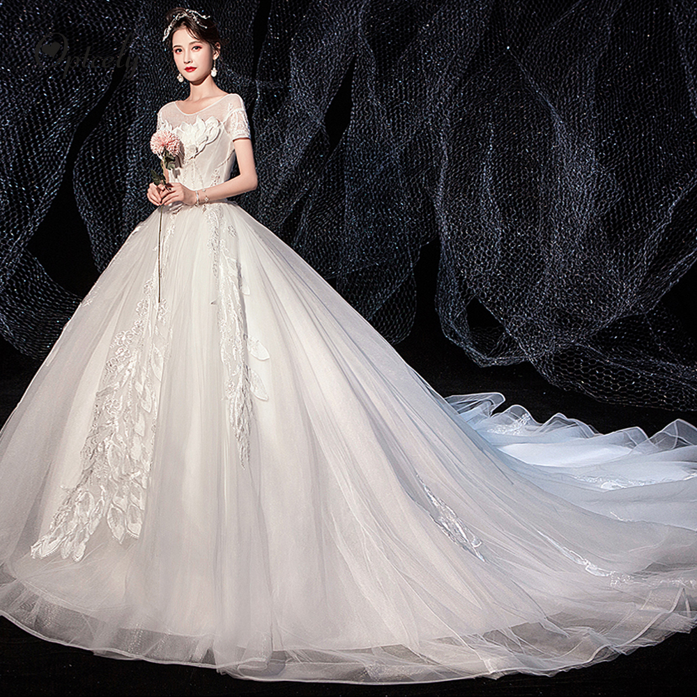 Optcely Elegant Royal Scoop Neck Short Sleeve A-Line Wedding Dresses 2019 New Train Appliques Beading Sweep Train Princess Gowns