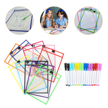 Children Stationery Supplies Dry Erase File Pockets with Pens (Random Color)