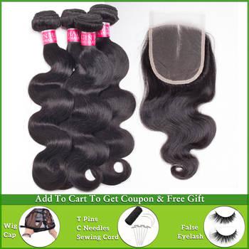 LEVITA body wave bundles with closure human hair bundles with closure nonremy Peruvian Brazilian hair weave bundles with closure
