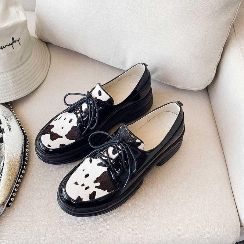 INS sıcak kadın ayakkabı hakiki deri + at saç 22.5-24.5 cm uzunluk kadın ayakkabı pompaları kore leopar baskı ayakkabı bayan ayakkabıları