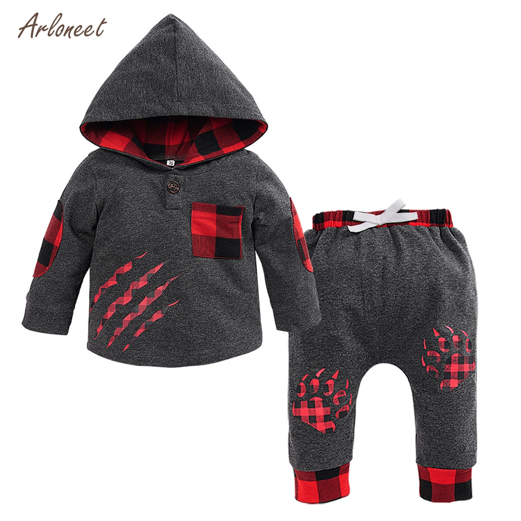 ARLONEET toddler fall clothes Long Sleeve Plaid Hooded Paw Print Pullover +Pants kids fashion girls 2019 kids boutique clothes