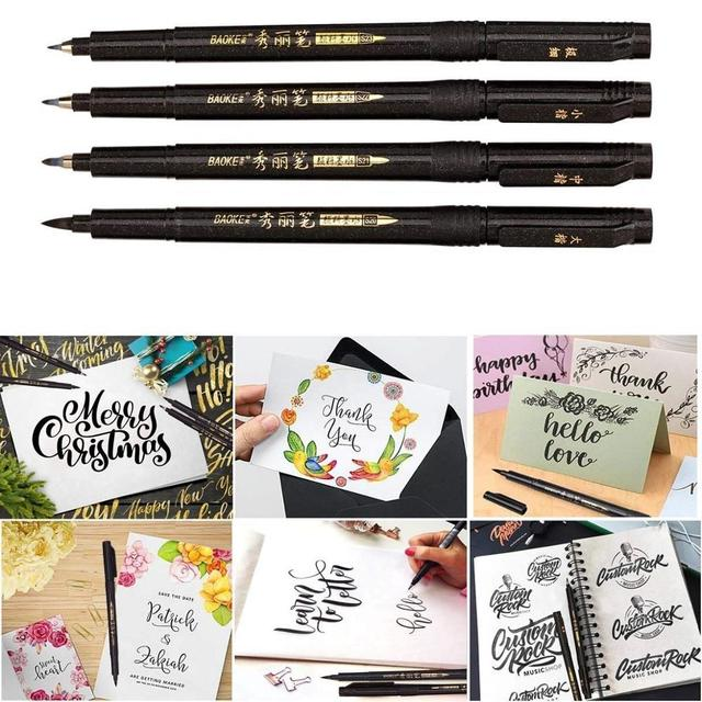 4pcs Hand lettering Calligraphy pen set Drawing Signature designs Learning Extra Fine Brush Art supplies School teacher F806 4