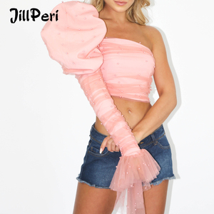Image 1 - JillPeri Women Puff One Shoulder Sexy Crop Top Fashion Ruched Mesh Pink Pearl Short Shirt Structured Outfit Celebrity Party Tops