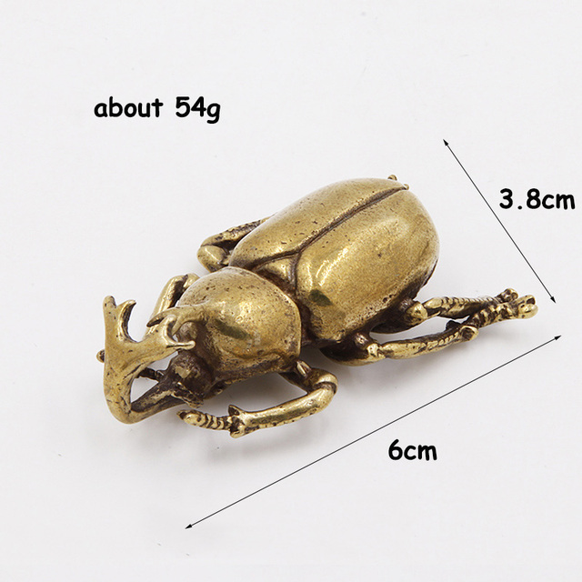 Antique Bronze 6 Styles Beetles Miniature Figurines Desktop Decorations Pure Brass Insect Tea Pets Ornament Home Decor Accessory 5