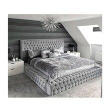 Европейский стиль современный дизайн из искусственной кожи двуспальная кровать с изголовьем