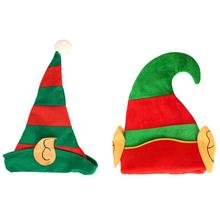 VKTECH New Year Christmas Elf Hat with Ears Child Adult Creative Cartoon Red Green Striped Festival Party Decoration Accessories