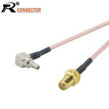 100 pcs/lot SMA zu CRC9 RG316 RF Kabel Sma buchse zu CRC9 Männlichen Rechten Winkel RF Koaxial kabel Zopf 15 cm/50 cm/100 cm