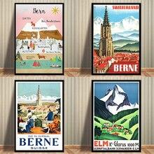 Pinturas en lienzo de Bern City Switzerland cuadro Vintage póster Kraft recubierto pegatinas de pared decoración del hogar regalo