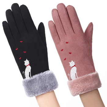 Winter Women Touch Screen Gloves with Embroidery made with a Special Conductive Fabric into Finger Tips for fast Navigation of All Touch Screen Device
