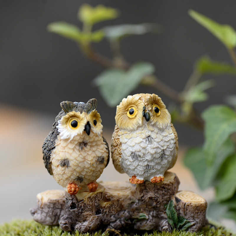 1/2/4PCS Cute Owls Animale Statuette In Resina Miniature Figurine Mestiere Vasi Bonsai Casa Fata Giardino Ornamento decorazione Terrario