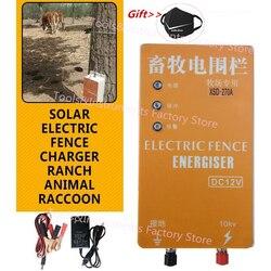 10KM Solare Recinzione Elettrica Energizer Caricabatterie Regolatore di Impulsi Ad Alta Tensione Animale Elettrico Recinzione Allevamento Recinzione Pastore XSD-280B