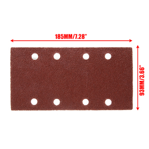Image 5 - 50pcs 8 Holes Sand Paper Sheets Rectangle Brown Sandpaper for Polishing Swing Grinder 40 120 Grit Orbital Sanders Tools 93*185mm
