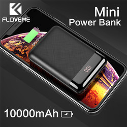 FLOVEME Power Bank 10000mAh Mini Portable LED Digital Display Dual USB Ports Powerbank External Mobile Battery For iPhone Charge