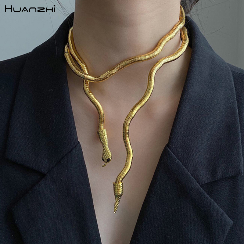 HUANZHI 2020 New Punk Cool Bendy Multilayer Metal Alloy Gold Black Color Snake Necklace and Bracelet for Women and Men Jewelry|Chain Necklaces| - AliExpress