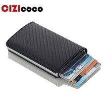 Tarjeteros de aluminio para hombre, funda para tarjetas de identificación, RFID, automático, a la moda