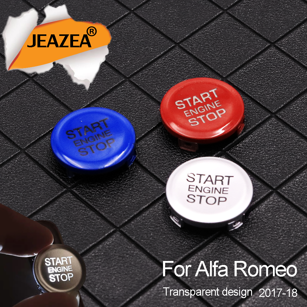 JEAZEA ABS Car Engine Start Stop Switch Button Cover Trim for Alfa Romeo 2017 2018 Ring Cover Stickers Accessories