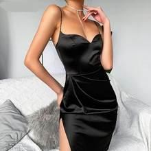 WannaThis – robe en soie noire, Sexy, col en v, sans manches, haut, fendue, ourlet, longueur aux genoux, bretelles, Slim, robes de soirée, été