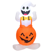 Halloween Inflatable Blow Up Ghost on Pumpkin Yard Decor with Light for Outdoor Decoration
