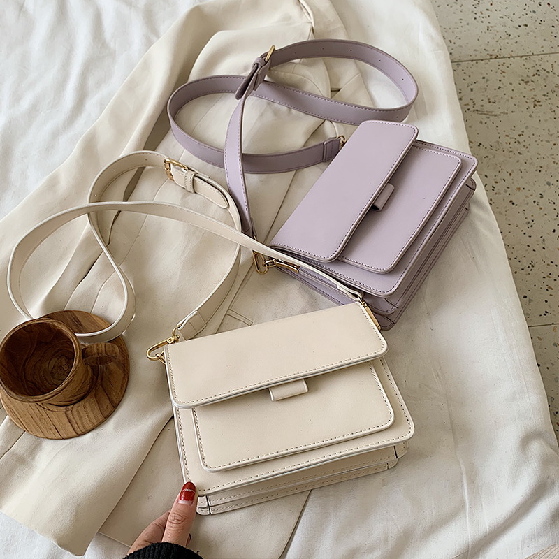 Solid Color PU Leather Crossbody Bags For Women 2020 Summer Simple Fashion Handbags And Purses Female Shoulder Bags