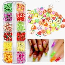 12Grids Gummy Slices Nail Art Piercing Acrylic Fruit Glitter UV Gel Polish Resin Nail Rhinestones For Manicure 3D Supplies
