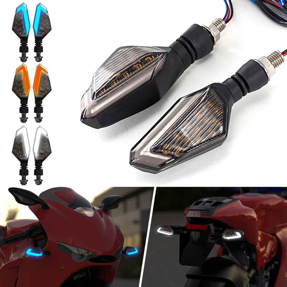 2PCS For Cruiser Honda Kawasaki BMW Yamaha Motorcycle Blinker Front Rear Signal Lamp Flasher Motorcycle LED Turn Signal Lights