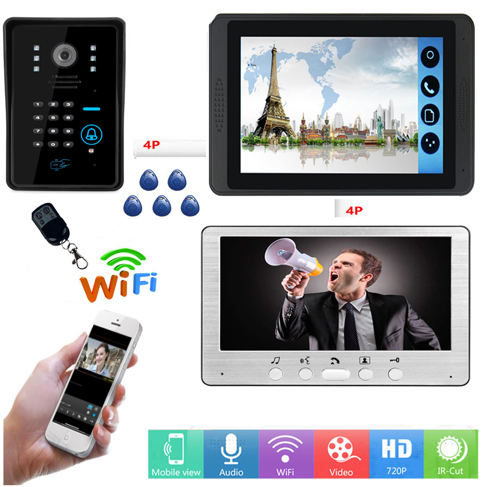 RFID Password Unlock Video Intercom 7 Inch LCD Wifi Wireless Video Door Phone Doorbell APP Remote Control Visual Intercom System