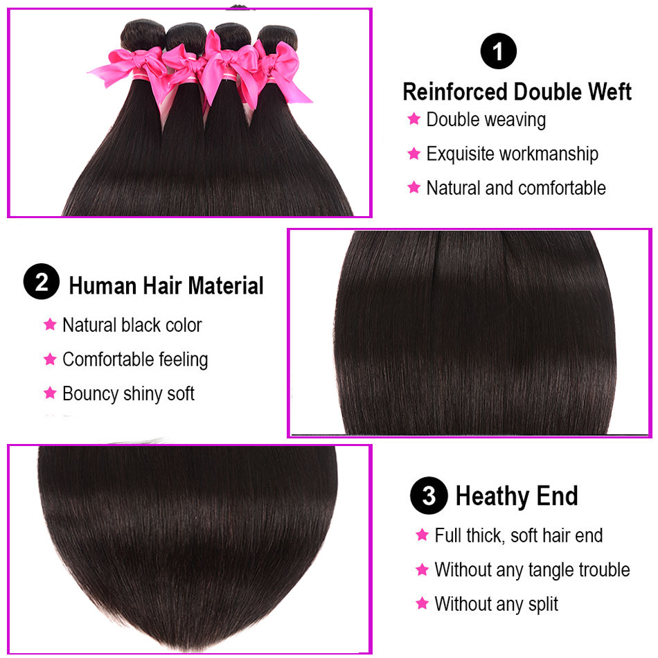 Aatifa Brazilian Straight Hair Bundles With Closure Human Hair Bundles With Closure Remy Bundles With Closure Hair Extension