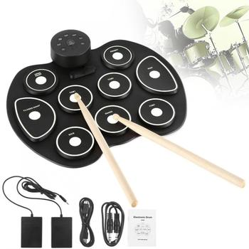 9 Pads Portable Electronic Roll up Silicone Drum with Drumsticks and Sustain Pedal Children Students Practice Drum фото