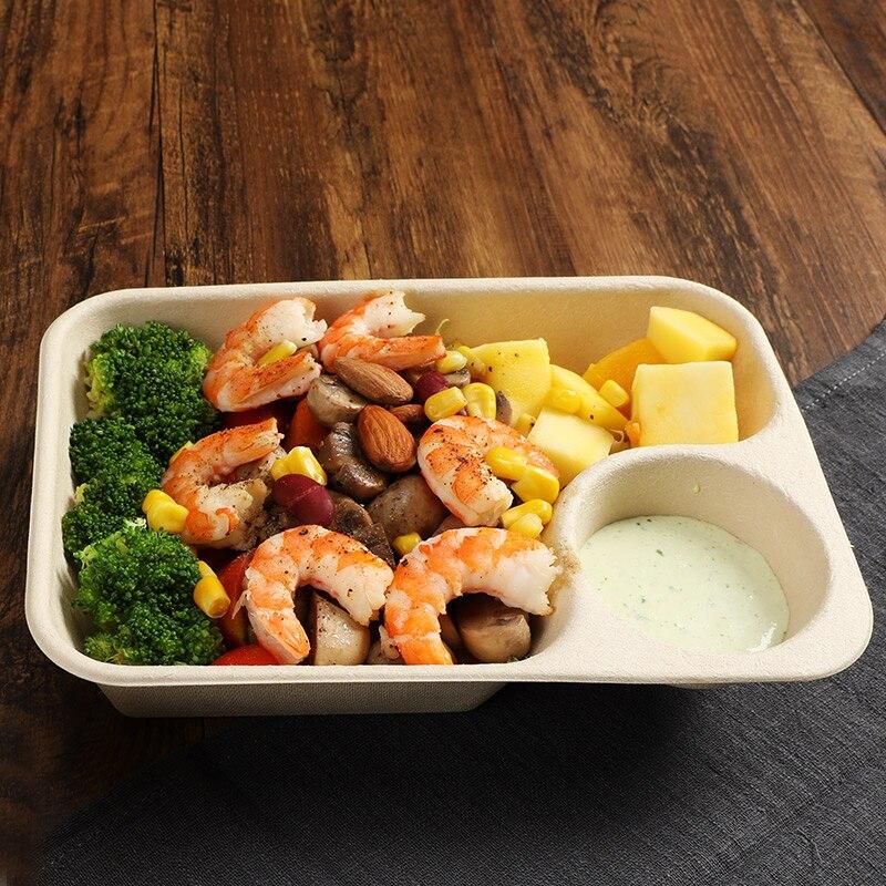 50 pcs/pack papier jetable boîte à repas boîte à salade dégradable boîte à déjeuner Sushi boîte alimentaire à emporter boîte d'emballage - 3