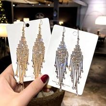 New Silver Color Rhinestone Crystal Long Tassel Earrings for Women Bridal Drop Dangling Earrings Brincos Wedding Jewelry недорого