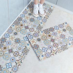 PVC Kitchen Mat Waterproof Oil-proof Kitchen Rug Door Entrance Hallway Mat Anti-skid Bathroom Carpet Long Floor Kitchen Carpet