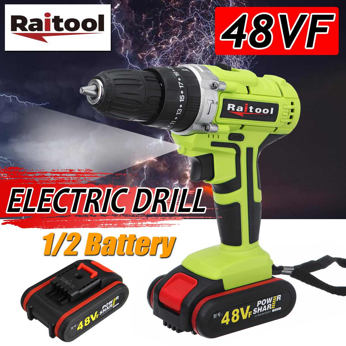 48V Cordless Electric Impact Drill Li-ion Battery LED Working Light 25+3 Torque Screwdriver DIY Home Hand Flat Drill Power Tools