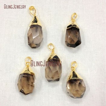 Smoky Brown Quartz Faceted Crystal Briolette Pendant with Gold or Silver PM12145