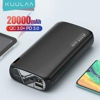 KUULAA-Batería Externa de 20000 mAh para móvil, Powerbank de carga portátil, para Xiaomi Mi