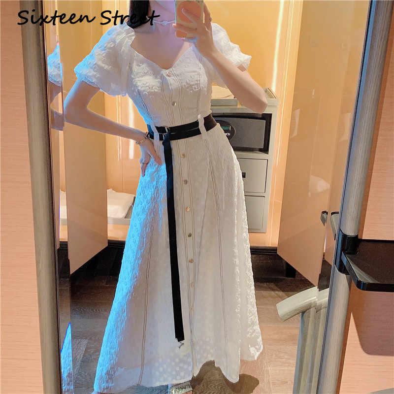2020 新夏 v ネックホワイトドレス女性シングルブレストボタンカジュアルパーティードレス女性ストリート着用ショートパフスリーブ vestido