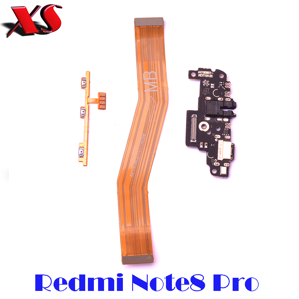 For Redmi Note 8 Pro Power Volume Sidebutton Strip Main Mainboard USB Charging Port Board Flex Cable For Redmi Note8