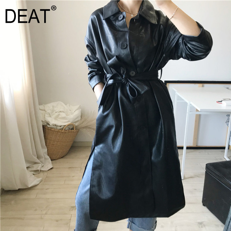 DEAT Windbreaker Over-Sized Autumn High-Leather Winter New And PU WJ12801L Sashes Turn-Down-Collar