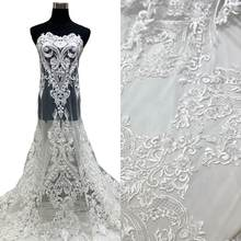 High Quality Bridal Embroidery Lace Fabrics For Party & Wedding Dresses In 100% Polyester White Mesh Tulle by Handmade Wih Beads(China)