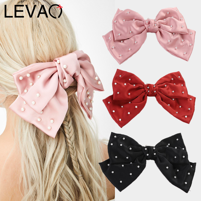 Levao Women Pearl Embellished Hairpin Satin Large Pink Bow Hair Clips For Girls Hair Accessories 2020 Bowknot Hairpins Headwear