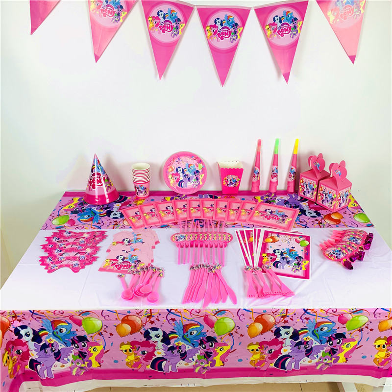 birthday party decorations kids My Little Pony girl kids tablecloth party supplies plate hat knife cup flag disposable tableware