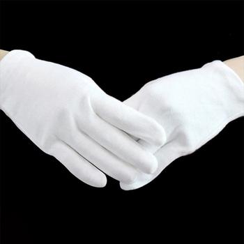 1 para białe rękawiczki bawełniane rękawice robocze etykiety uroczyste wysokiej jakości biżuteria kontroli rękawice kierowcy tanie i dobre opinie Dla osób dorosłych CN (pochodzenie) Unisex COTTON Stałe DO NADGARSTKA moda