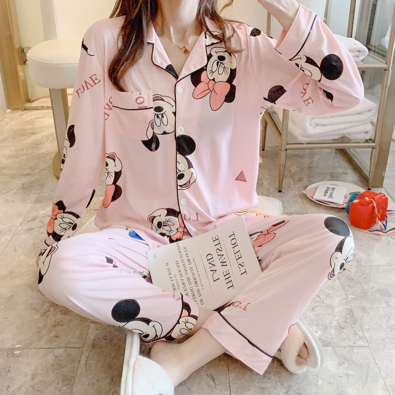 Cartoon Mickey Mouse Print Pajama Sets For Women Spring Summer Cotton Made Casual Comfortable Sleepwear For Girl 2 Pcs