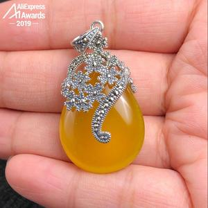 Image 3 - NOT FAKE S925 Sterling Silver Israel Amber Unique Design Artisan Baltic Pendants health rich lithuania Chalcedony Yellow