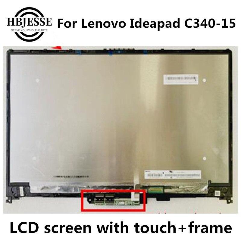 Оригинал для Lenovo IdeaPad C340-15 C340-15IIL-15 FHD LCD сенсорный экран стекло дигитайзер в сборе с рамкой