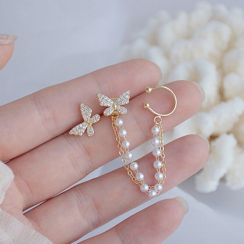 Korean Temperament Pearl Butterfly Ear Bone Clip Earrings 14k Real Gold Bling Delite Zircon Earring Wedding Bridal Jewellery