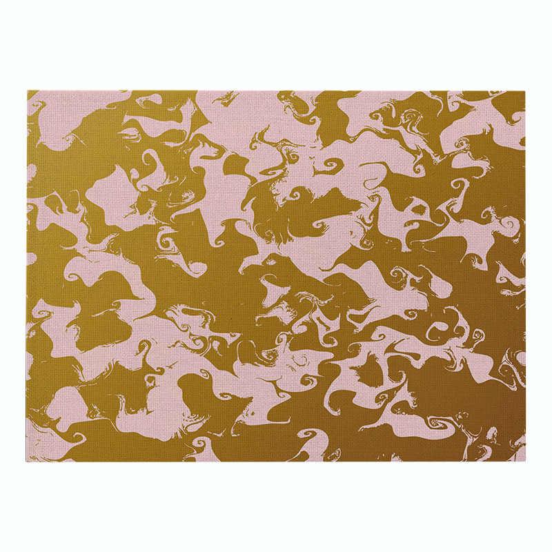 Napperon en lin de coton doré rose motif géométrique tapis de Table à manger tampons à disque bol Pad sous-verres nappe antidérapant