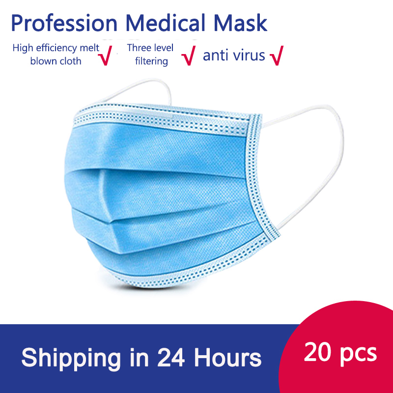 100 Pcs Non-Woven Disposable Face Protective Masks 3 Layers Antibacterial PM2.5 Anti-Virus Fog Earloops Face Anti-Dust Mask