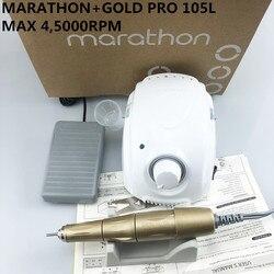 MARATHON-Kampioen 3 PRO 105L Handvat 45000rpm Electric Nail Boor STERKE 210 Micro Motor Slijpmachine Voor Nail art Gereedschap